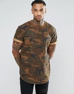 Тканая oversize-рубашка с камуфляжным принтом ASOS - Коричневый