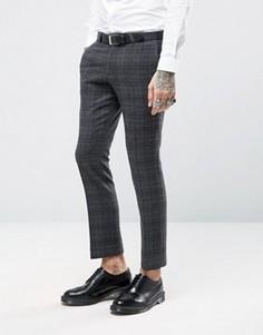 Супероблегающие брюки в клетку с начесом Noose & Monkey - Серый