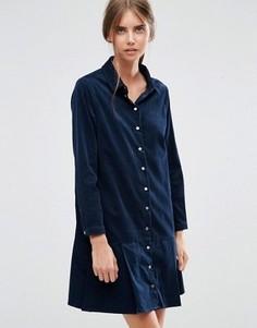 Вельветовое платье‑рубашка с заниженной талией и оборкой ASOS - Синий