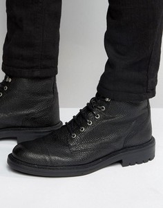 Кожаные ботинки на шнуровке Walk London Liverpool - Черный
