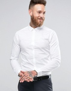 Белая рубашка с воротником на пуговицах и длинными рукавами ASOS - Белый