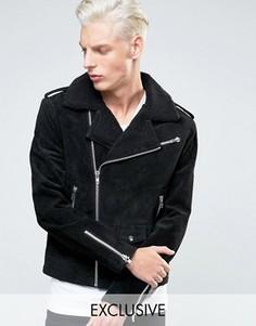 Кожаная байкерская куртка с воротником борг Black Dust - Черный