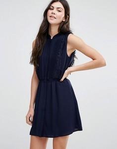 Платье-рубашка с отделкой бахромой Greylin Gianna - Темно-синий