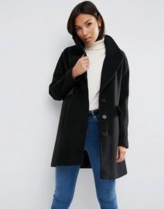 Пальто свободного кроя с рукавами летучая мышь ASOS - Черный