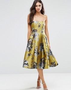 Платье-бандо миди со вставками и цветочным принтом ASOS SALON - Мульти