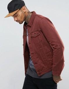 Бордовая джинсовая куртка зауженного кроя ASOS - Красный