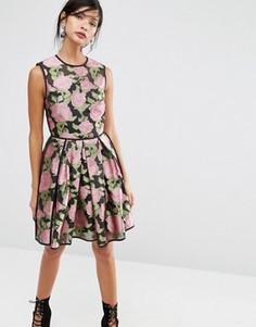 Платье мини с принтом роз ASOS SALON - Мульти