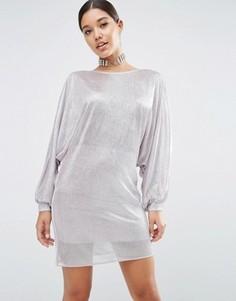Платье-туника мини в стиле oversize с эффектом металлик ASOS - Серебряный