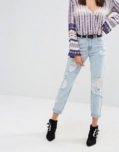 Рваные джинсы в винтажном стиле Missguided Riot - Синий