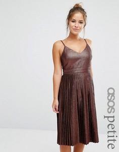 Платье миди бронзового цвета с эффектом металлик и плиссировкой ASOS PETITE - Медный
