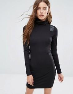 Платье с отворачивающимся воротником и вставками из искусственной кожи G-Star - Черный