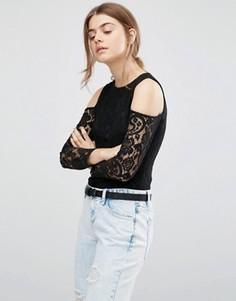 Кружевное боди с вырезами на плечах Parisian - Черный