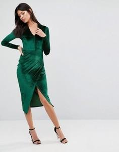 Вельветовое асимметричное платье миди с глубоким v-образным вырезом Club L - Зеленый