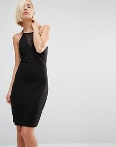 Облегающее платье с кружевными вставками Y.A.S Base - Черный