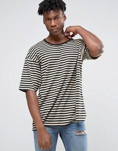 Oversize-футболка в полоску с заниженной линией плеч Other UK - Коричневый