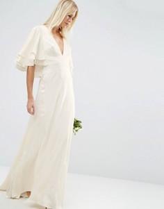 Платье макси со вставками и рукавами-бабочка ASOS BRIDAL - Белый