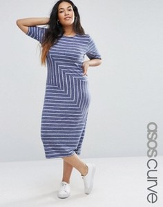 Меланжевое платье-футболка миди в полоску ASOS CURVE - Мульти