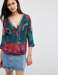 Блузка с запахом и цветочным принтом Lavand - Зеленый