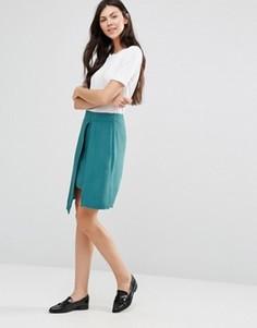 Многослойная зеленая юбка с разрезом Lavand - Зеленый