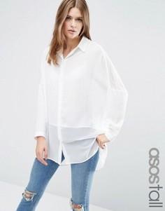 Oversize-блузка с прозрачными вставками ASOS TALL - Кремовый