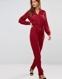 Бордовый комбинезон в стиле милитари Lavand - Красный