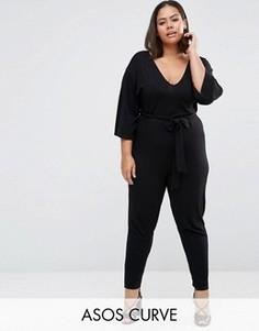 Комбинезон с поясом и рукавами в стиле кимоно ASOS CURVE - Черный