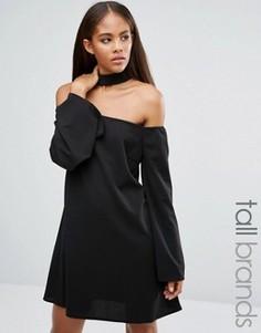 Платье с вырезом лодочкой и лентой на шее Missguided Tall - Черный