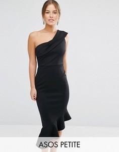 Платье миди на одно плечо с баской ASOS PETITE - Черный