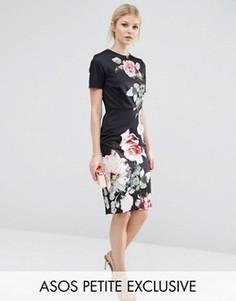 Облегающее платье-футболка с цветочным фотопринтом ASOS PETITE - Черный