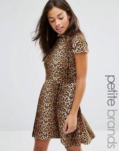 Короткое приталенное платье с леопардовым принтом Glamorous Petite - Коричневый