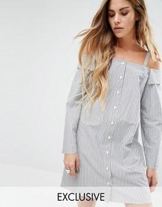 Платье-рубашка с открытыми плечами Reclamed - Серый Reclaimed Vintage