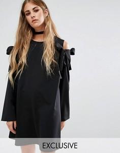 Цельнокройное оversize-платье со спущенными плечами с бантиками Reclaimed Vintage - Черный