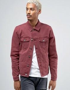 Бордовая джинсовая куртка скинни ASOS - Красный