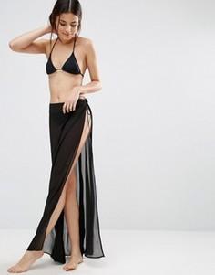 Пляжная юбка-парео из шифона ASOS - Черный