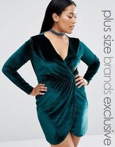 Платье с запахом спереди Boohoo Plus - Зеленый