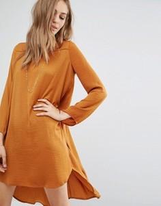 Платье с длинными рукавами и удлиненной кромкой сзади Vila - Коричневый