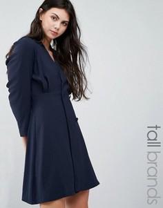 Цельнокройное платье с запахом спереди Vero Moda Tall - Темно-синий