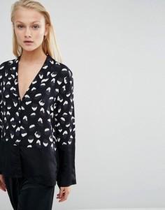 Блузка в пижамном стиле со звериным принтом ASOS - Мульти