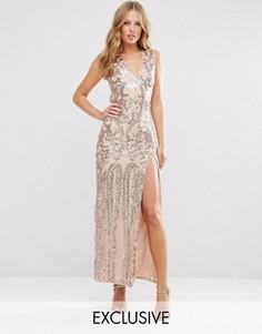 Платье макси с открытой спиной и отделкой пайетками Club L - Золотой