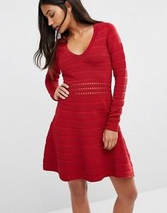 Короткое приталенное платье в рубчик Supertrash Darles - Красный