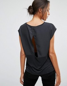 Топ с короткими рукавами и открытой спиной с запахом Selected Irina - Черный