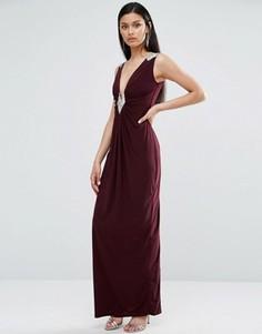 Платье макси со сборками TFNC - Красный