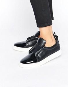 Черные лакированные кожаные кеды-слипоны Sol Sana Mickey - Черный