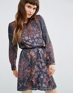 Платье в цветочек с длинными рукавами и ремнем Lavand - Серый