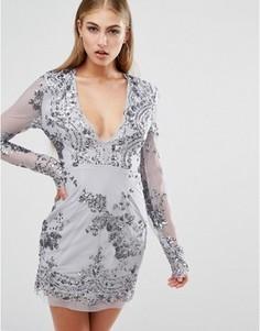 Облегающее платье с длинными рукавами и отделкой пайетками Missguided - Серый