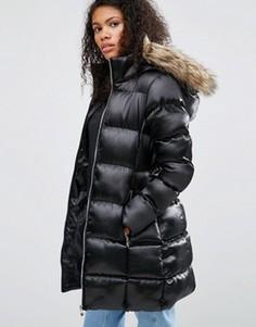 Длинная стеганая куртка с отделкой из искусственного меха Brave Soul - Черный