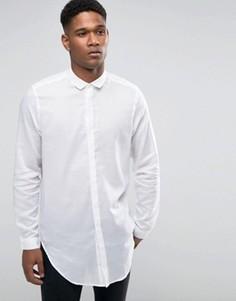 Белая супердлинная рубашка из хлопка с драпировкой ASOS - Белый