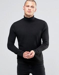 Черный хлопковый джемпер с отворачивающимся воротником ASOS - Черный