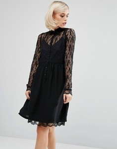 Свободное платье‑рубашка с кружевной вставкой Lost Ink - Черный