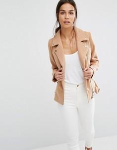 Короткая байкерская куртка из искусственной шерсти Missguided - Медный